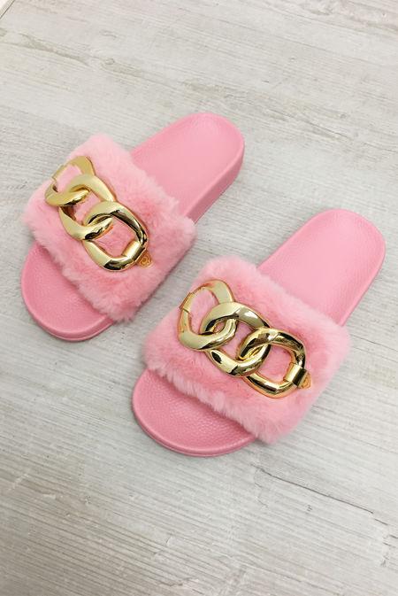 Pink Faux Fur Chain Slider