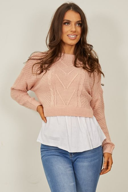 Dusty Pink Frill Knitted Shirt Jumper
