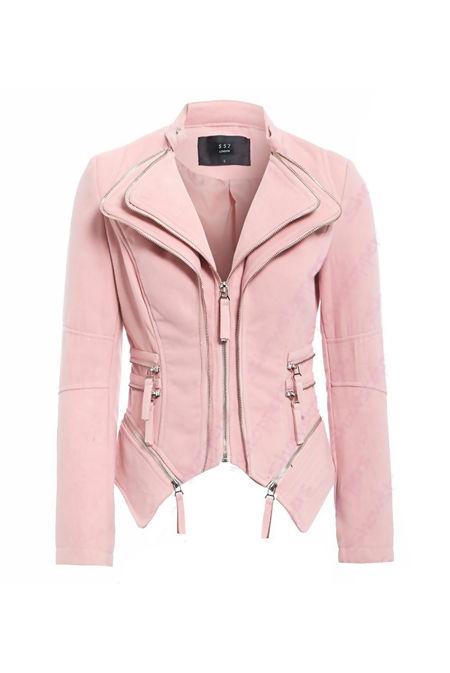 Pink Suede Double Zip Collar Biker Jacket