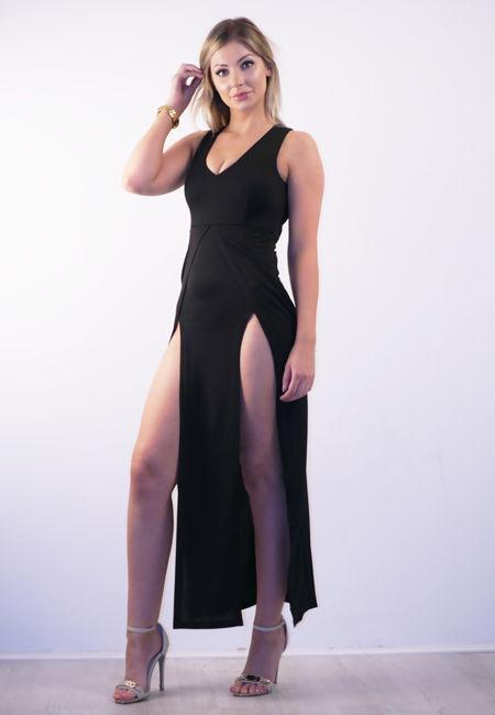 Plunge Neck Split Side Maxi Dress