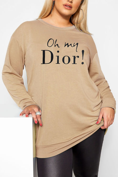 Plus Size Beige Oh My Dior! Print Jumper