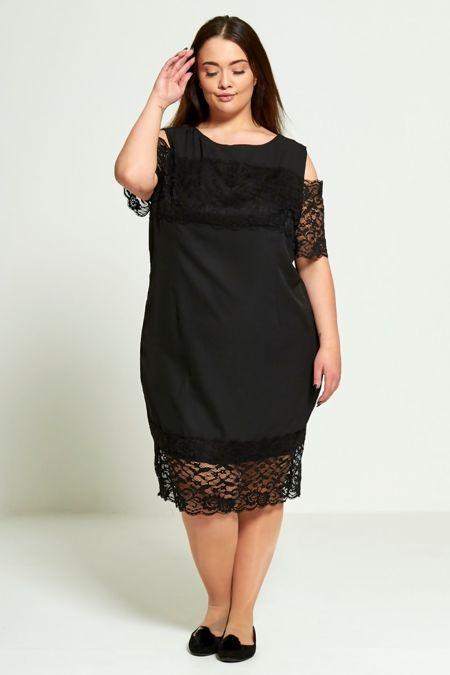 Plus Size Black Lace Detail Dress