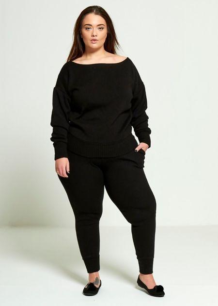 Plus Size Black Lounge Wear Set