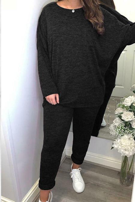 Plus Size Black Marl Dip Hem Top And Jogger Loungewear