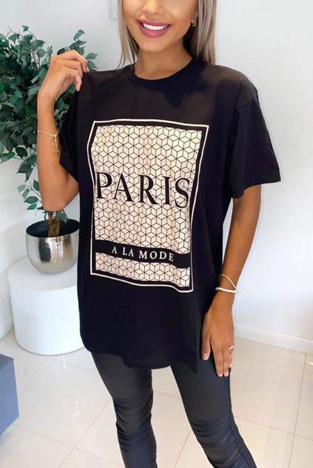 Plus Size Black Paris Printed Oversized Tee