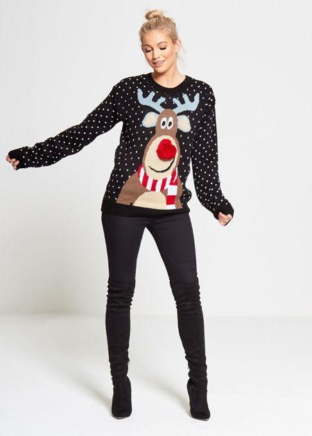 Plus Size Black Rudolph Pom Pom Knitted Christmas Jumper