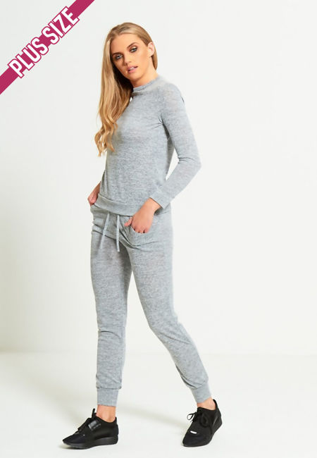 Plus Size Grey Marl Back To Basic Skinny Tracksuit