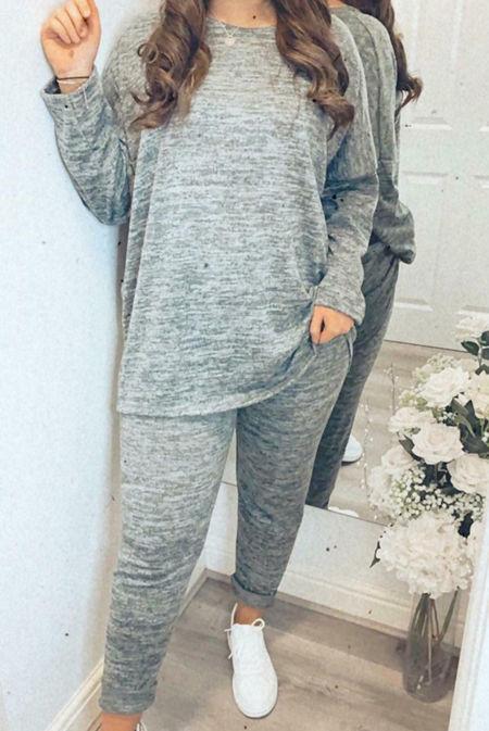 Plus Size Grey Marl Dip Hem Top And Jogger Loungewear