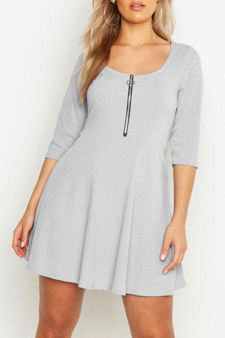 Plus Size Grey Soft Rib Zip Front Skater Dress