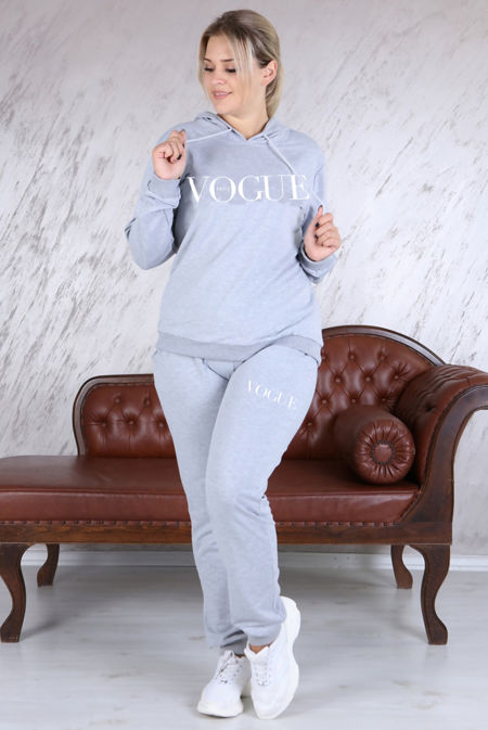 Plus Size Grey VOGUE Hooded Loungewear Set