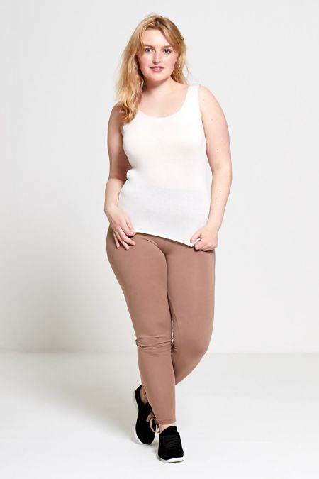 Plus Size Mocha Curve Eyelet Lace-Up Hem Leggings