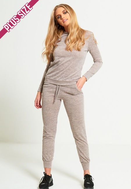 Plus Size Peach Marl Back To Basic Skinny Tracksuit