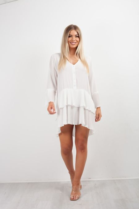 Plus Size Pleated Smock Hem Dress