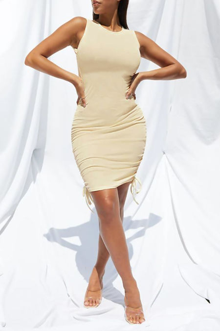 Plus Size Stone Ribbed Side Ruched Bodycon Dress