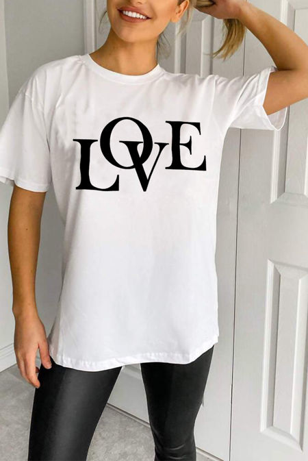 Plus Size White LOVE Oversized Tee