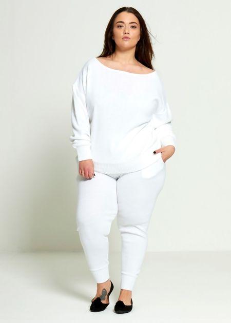 Plus Size White Lounge Wear Set