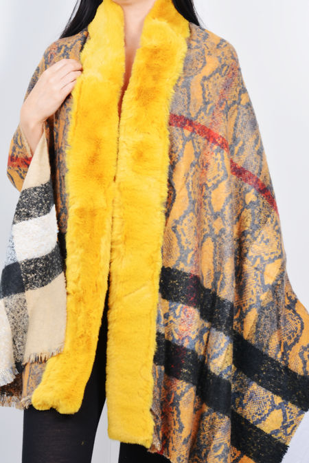 Printed Faux Fur Trim Reversible Cape