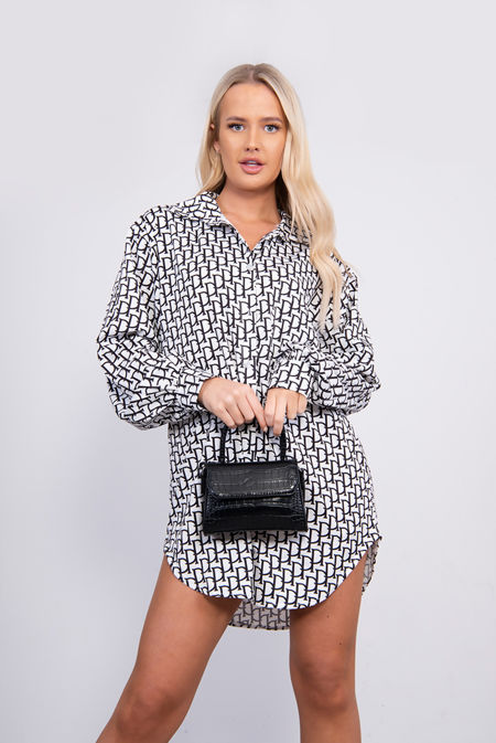 White Printed Shirt Dress