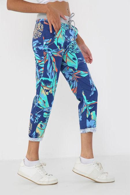 Purple With Aqua Floral Print Trouser