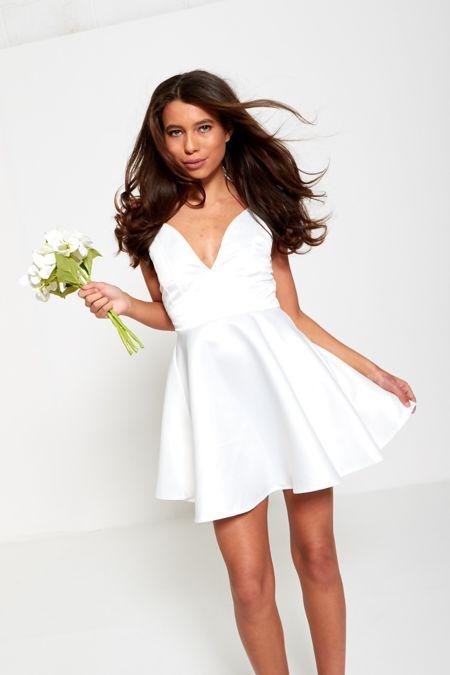 White Satin Skater Dress