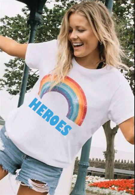 Red Rainbow NHS Heroes Tee Top