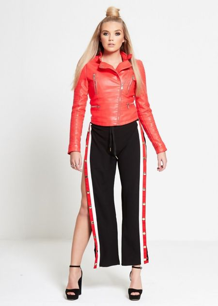 Red and White Stripe Popper Trouser