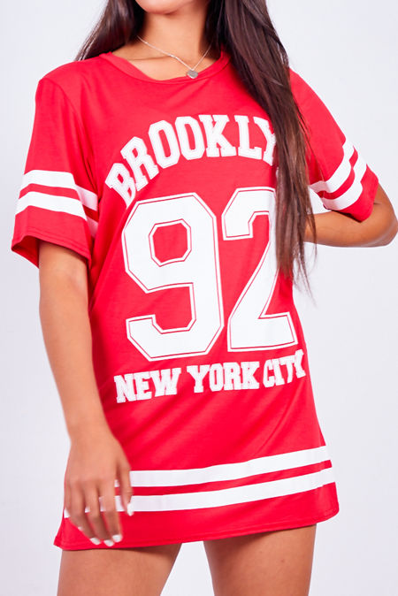 Red Brooklyn 92 New York Oversized Tee