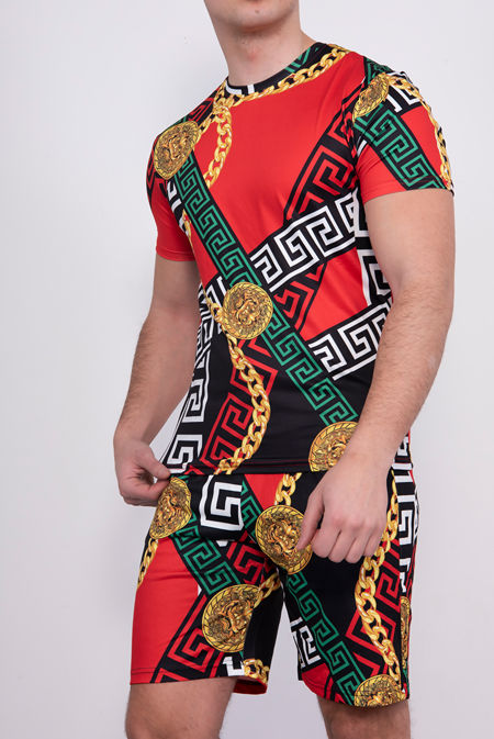 Red Chain Print T-Shirt And Short Set