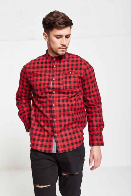 Red Check Mandarin Collar Shirt