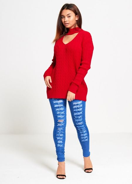 Red Choker Neck Knitted Jumper