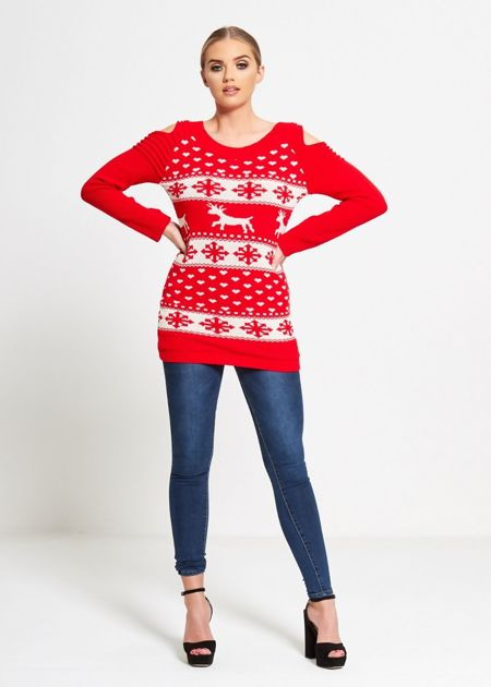Red Cold Shoulder Reindeer Knit Jumper