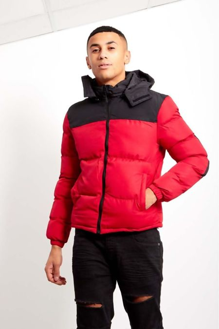 Red Contrast Padded Hood Jacket