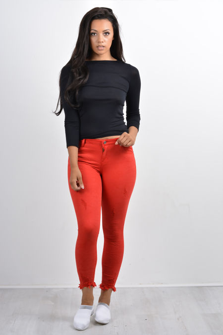 Red Distressed Hem Skinny Jeans