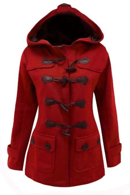 Plus Size Red Fleece Hooded Toggle Jacket