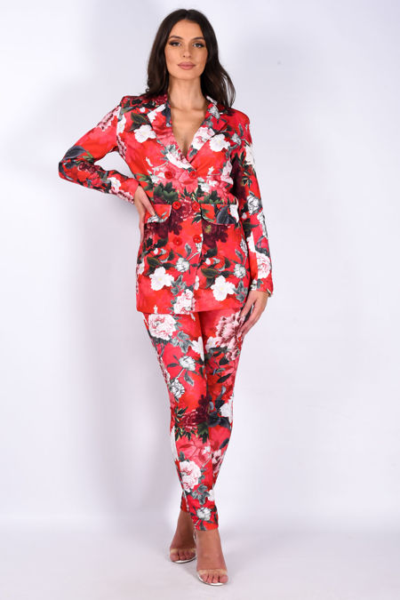Red Floral Longline Blazer And Trouser Suit Set