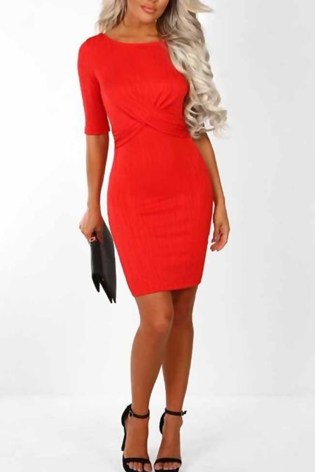 Red Front Wrap Backless Mini Dress