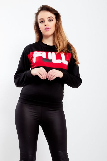 Red Full Slogan Print Sweatshirt