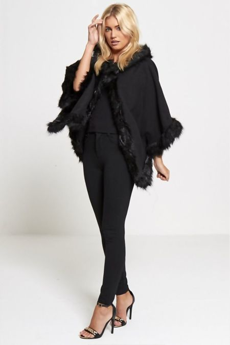 Black Fur Lined Hooded Cape