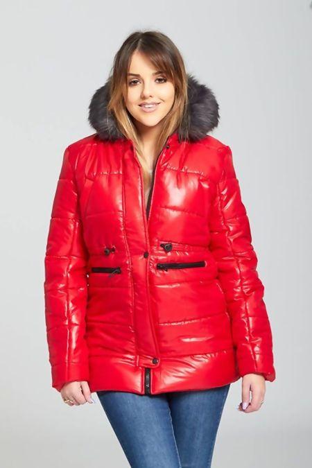 Red Fur Trim Hooded Puffer Jacket