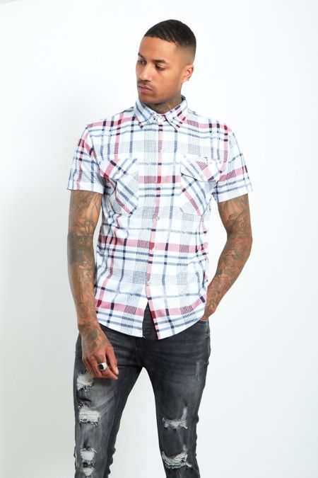 Red Half Sleeve Check Shirt