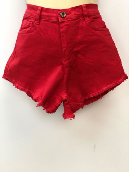 Red High Waist Frayed Hem Denim Shorts