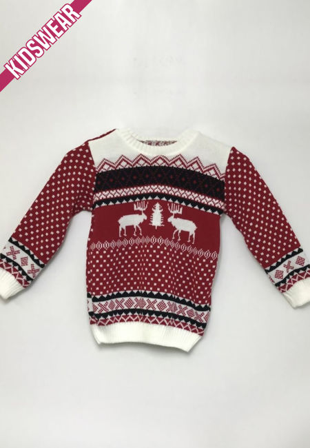 Red Kids Reindeer Patterned Christmas Jumper