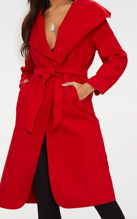 Red Long Waterfall Duster Coat