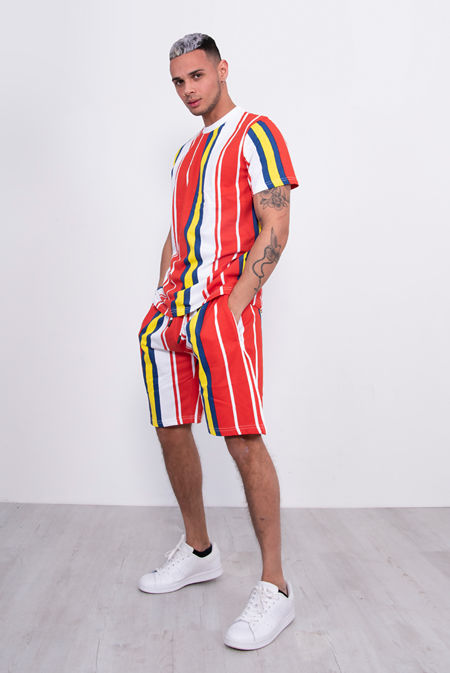Red Multi Stripe T-Shirt And Short Set