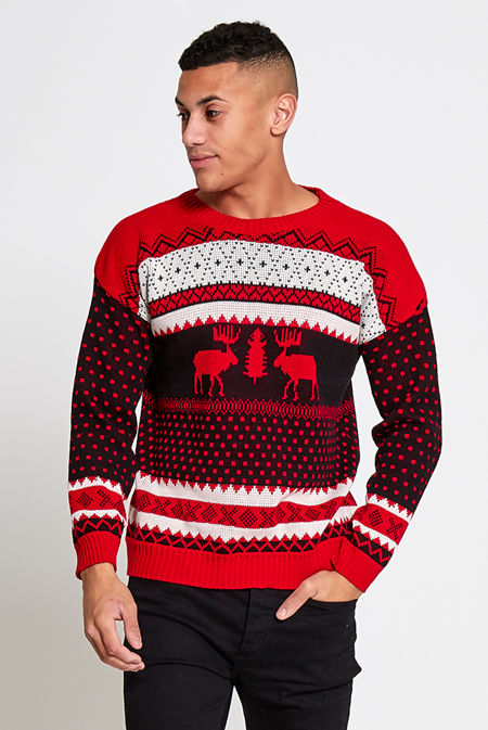 Red Novelty Reindeer Christmas Jumper