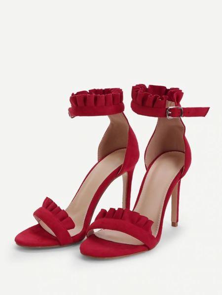 Red Party Prom Ruffle Frill Stilleto Heel
