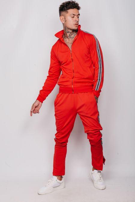 Red Patterned Stripe Skinny Fit Tracksuit