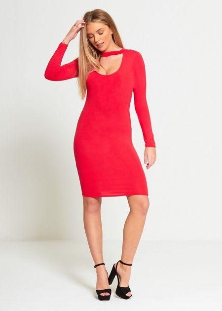Red Plain Choker Neck Mini Dress