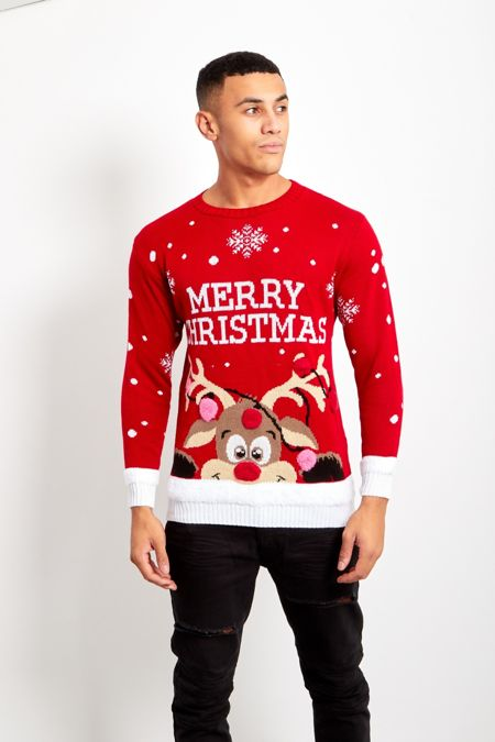 Red Pom Reindeer Merry Christmas Jumper