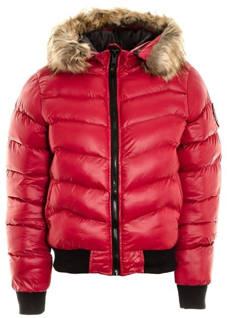 Red Quilted Badge Puffer Hood Bomber Jacket